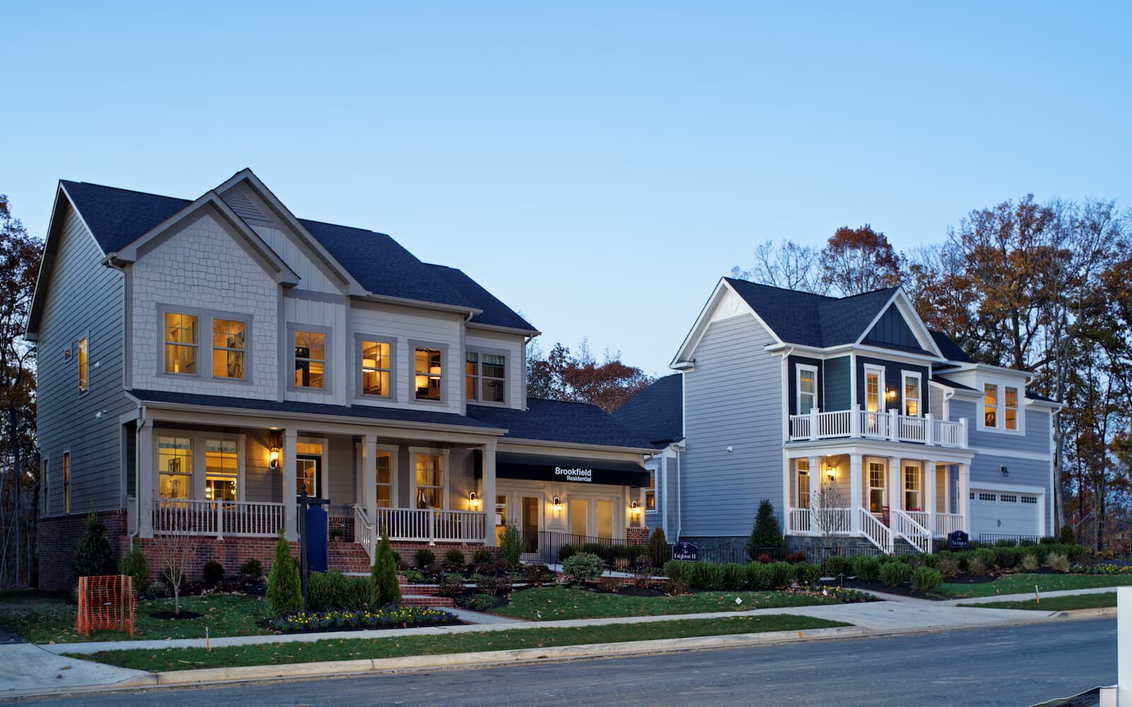 A streetscape of Brookfield Residential homes in Prince William County VA