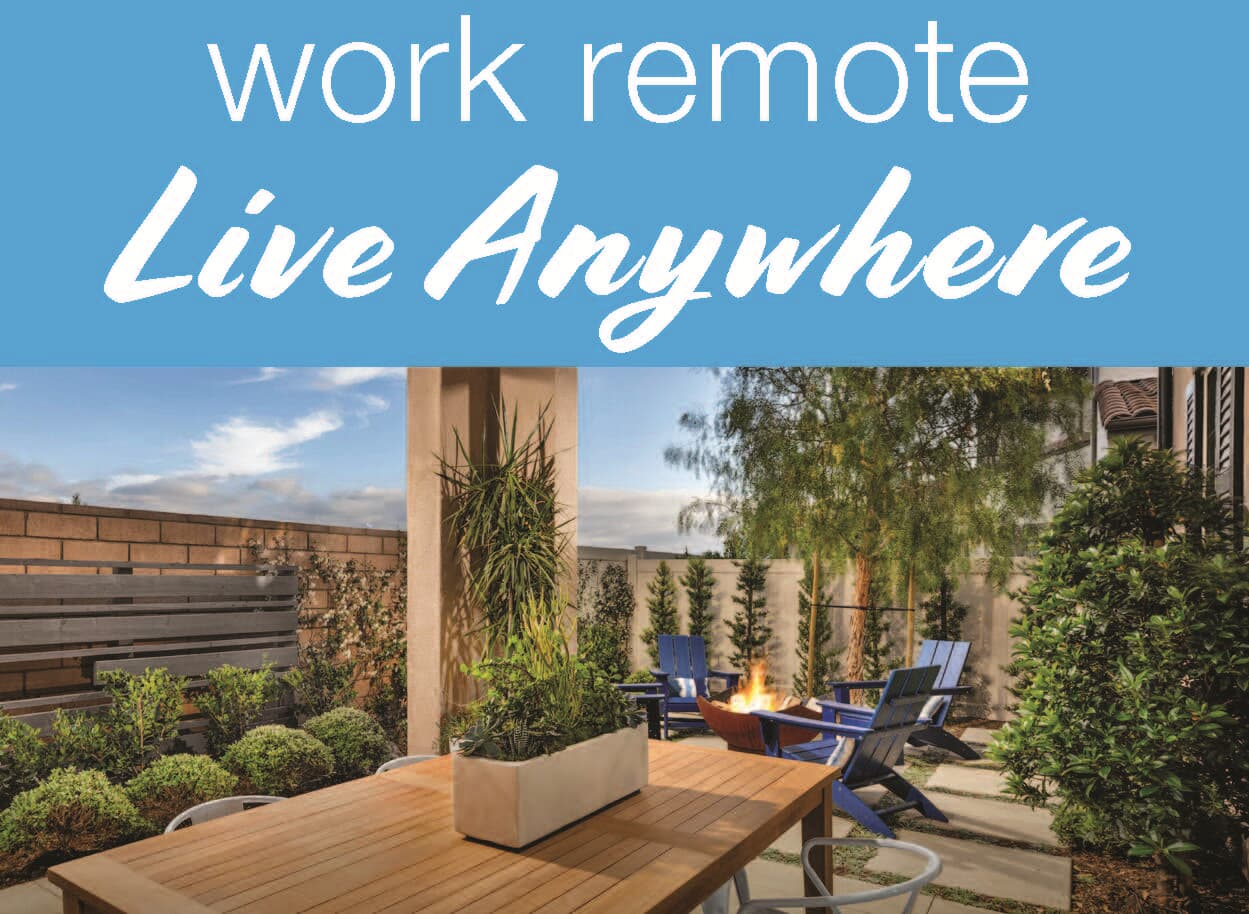 Work Remote Live Anywhere banner over an outdoor patio